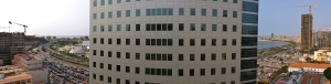 View of the office building from our tenth floor flat.