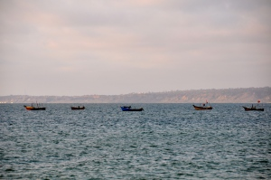 No speed boats or oil derricks to be seen here, just local fishermen hoping for a good catch.