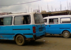 Luanda's answer to London's black cab, the ubiquitous blue taxi.