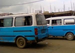 Luanda's answer to London's black cab, the ubiquitous blue taxi.