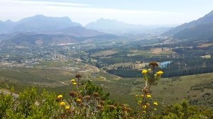 Looking down at Franschhoek from the pass.